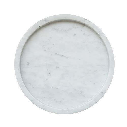 MEDA BLOOMS White Round Marble Tabletop Tray, Vanity Kitchen Bathroom Storage Organizer