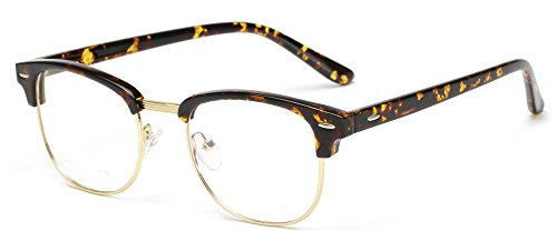 Outray Vintage TR90 Half Frame Horn Rimmed Prescription Optical Frames Glasses 2135TR-c3 - Glasses Prescription