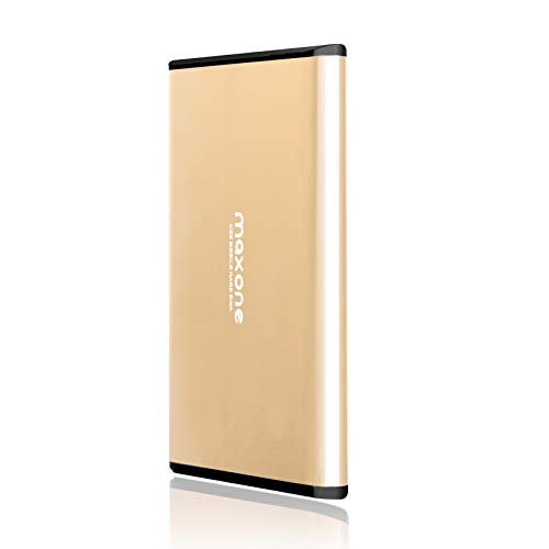 1TB Portable External Hard Drive - Maxone Ultra Thin External HDD USB 3.0 for PC, Mac, Laptop, PS4, Xbox one and Smart TV - Gold