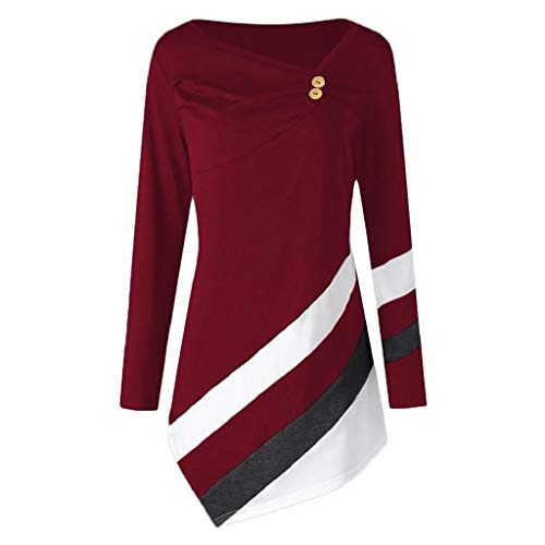 - KASAAS T-Shirt Tops for Women Tunic Plus Size Stripe Asymmtrical V-Neck Button Long Sleeve Ruched Blouse Shirt(16,Wine Red)