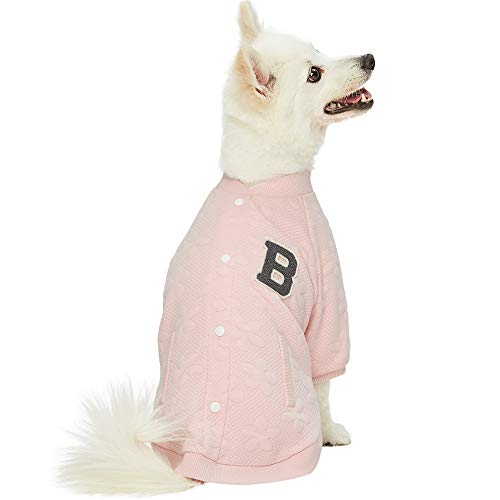 Blueberry Pet 2019 New Soft & Comfy Baseball Fans Favorite Floral Jacquard Pullover Dog Sweatshirt in Pink, Back Length 14