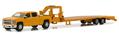 2015 Chevrolet Silverado and Gooseneck Trailer Yellow Hitch & Tow Series 13 1/64 Diecast Car Model by Greenlight 32130 B