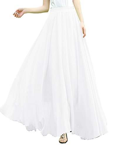 v28 V28Women Full/Ankle Length Elastic Pleated Retro Maxi Chiffon Long Skirt (M, White) -