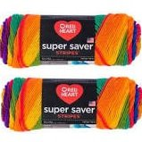 Bulk Buy: Red Heart Super Saver (2-pack) (Favorite Stripe, 5 oz each skein)
