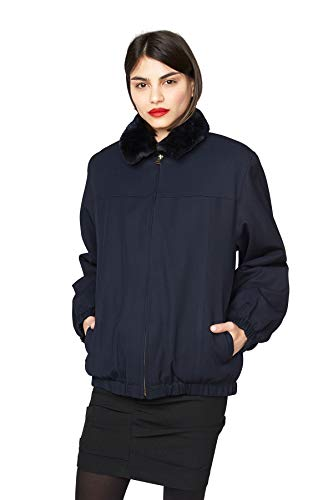 "Gallagher Navy Loro Piana Storm System with Dyed Blue Sheared Nutria Reversible 26"" Bomber Jacket - Fur Nutria Coat"