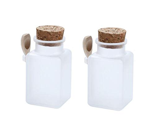 2Pcs Empty Square Frosted Plastic Storage Container Bottle Jars With Cork Stopper and Wooden Spoon For Storing Cosmetic Face Mask Powder Bath Salt Seasoning Sauce Honey Nuts and Food(200g/6.7oz)