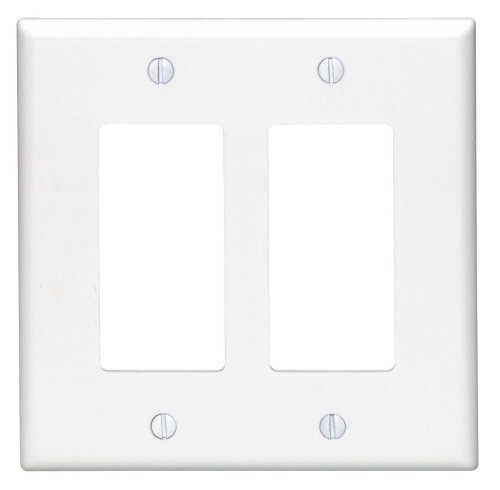 Leviton 80609-W 2-Decora/Gfci Midway Size Wall Plate, 2 Gang, 4.88 In L X 4.94 In W 0.255 In T, Smooth, White