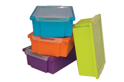 Gratnells Deep Trays   Set Of Four Plastic Storage Boxes With Lids (Lime  Green,