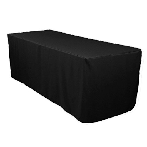 LinenTablecloth 6 ft. Fitted Polyester Tablecloth Black -