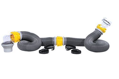 (Camco 39658 Deluxe 20' Swivel Ready to Use Kit Complete with Sewer Elbow Fitting, Hoses, Storage Caps and Bonus Clear Extender )