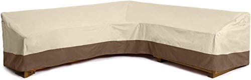 Delxo Sectional Sofa Cover Waterproof - 100% UV & Weather Resistant PVC Coated, V-Shaped, Beige