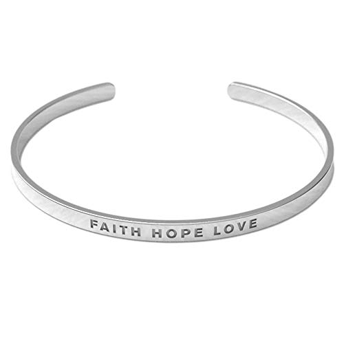 Remember Him Christian Bracelet | Proverb Faith Hope Love | Crafted from Tarnish Resistant Silver Material | Adjustable for All Wrist Sizes | Suitable for Men and Women