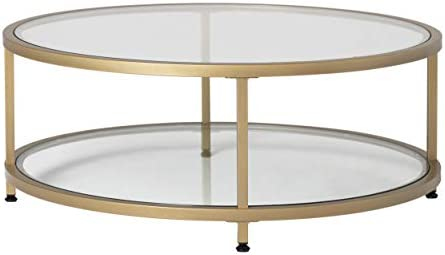 Amazon Com Studio Designs Home Camber 2 Tier Modern 38 Round Coffee Table In Gold Clear Glass Furniture Decor