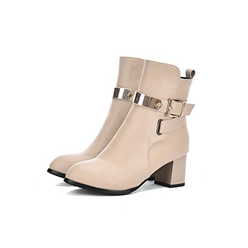Kitten Buckle Heels Boots Imitated Formal Girls Beige Leather AdeeSu 1vxwqUEn