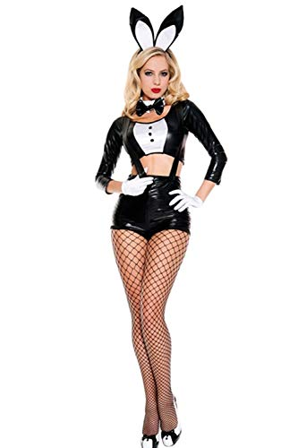 Women Girl Cosplay Halloween Costume Dress Bunny Tux Tail Hot Black One Size]()