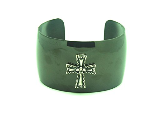 Sleek & Sexy Dark Grey & Cross Bracelet Cuff - Sleek Cross
