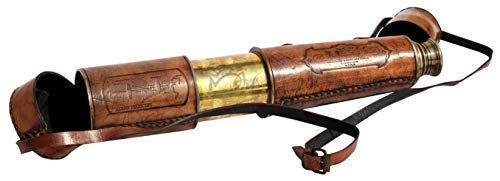 - MAH 32'' Ship Captain Brass Telescope with Spy Glass & Leather Case. C-3206