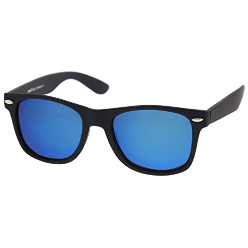 zeroUV - Rubberized Frame Reflective Mirror Polarized Lens Square Horn Rimmed Sunglasses 55mm (Polarized | Rubberized - Sunglasses Mirrored Mens