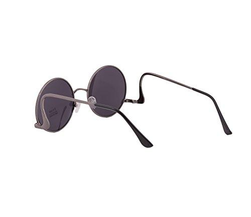 black de los estilo unisex 80 sol Gafas espejo retro Round de de cristales CO7dWqHw