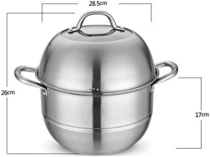Cuiseur vapeur multi-couche en acier inoxydable poli - 2 couches - Grande capacité - 304 - Universel - Pour gaz et gaz stylename 28cm couleur