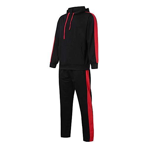 Limsea Men's Autumn Winter Patchwork Hoodie Sweatshirt Top Pants Sets Suit Tracksuit(Black,M) by Limsea Men Blouses (Image #3)