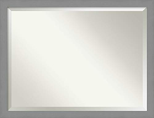 Amanti Art Vanity Bathroom Brushed Nickel Frame | Wall Mounted Mirror, Glass Size 40x30 ()