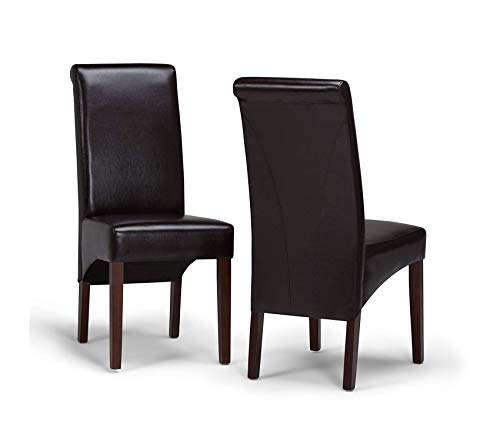 Premium Avalon Contemporary Deluxe Parson Dining Chair (Set of 2) in Tanners Brown Faux Leather
