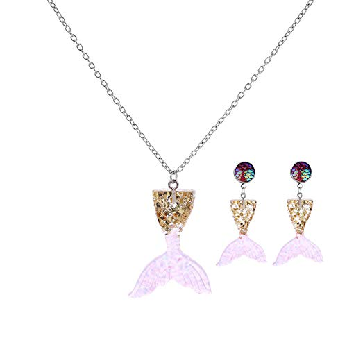 Necklace Earring Sets for Women, Creative Mermaid Tail Necklace Costume Personalized Fish Tail Earrings Pendant Set Ornament Packed in Jewelry Box Necklace Gift for Teen Girls and Kids (Pink & Gold) ()