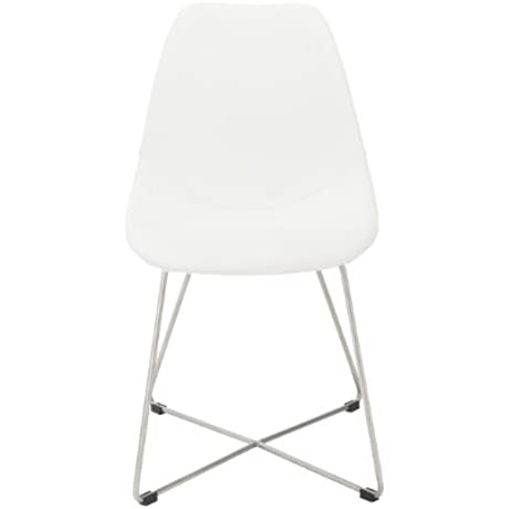 Euro Style Anahita Soft Leatherette Side Chair With Brushed Stainless Steel Base White Set Of 4