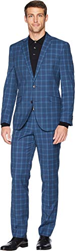 Kenneth Cole Unlisted Men's 2 Button Slim Fit Suit with Hemmed Pant, Blue Plaid, 44 Regular - Lined Plaid Suit