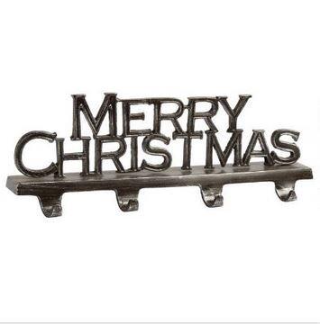 "Mantel Stocking Holder - 4-hook ""Merry Christmas"" Sturdy Metal Christmas Stocking Holder"