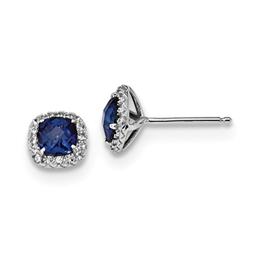 925 Sterling Silver Created Blue White Sapphire Post Stud Ball Button Earrings Fine Jewelry For Women Gift Set ()