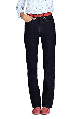 Lands' End Women's High Rise Straight Leg Jeans, 10 32, Deepest Indigo (Tall Jeans Lands End)