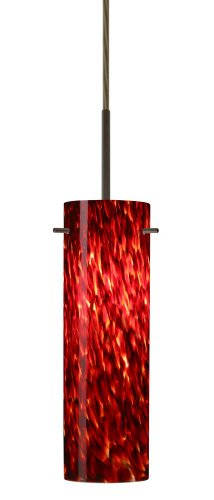 Besa Lighting 1BT-493041-MED-BR 1X50W B10 Med Copa Pendant with Garnet Glass, Bronze Finish
