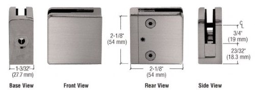 C.R. LAURENCE Z810BN CRL Brushed Nickel Z-Series Square Type Flat Base Zinc Clamp for 3/8