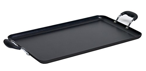 Double Burner Rectangular Griddle (IMUSA USA IMU-1818 Soft Touch Double Burner/Griddle, Black)