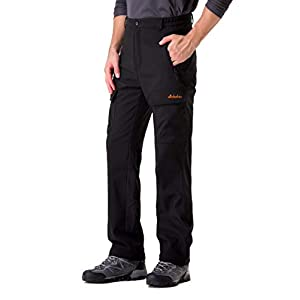 Clothin Men's Softshell Fleece-Lined Ski Cargo Pants - Warm, Breathable, Water-Wind-Resistant-Insulated
