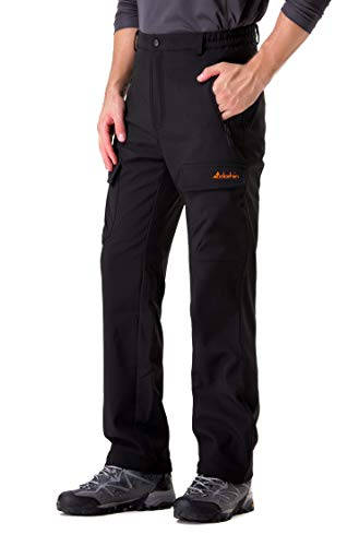 Clothin Men's Softshell Fleece-Lined Cargo Pants - Warm, Breathable, Water-Repellent, Wind-Resistant-Insulated(Black,M)