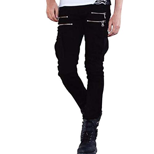 Men Solid Denim Cotton Straight Pocket Elastic Trousers Distressed Jeans Pants