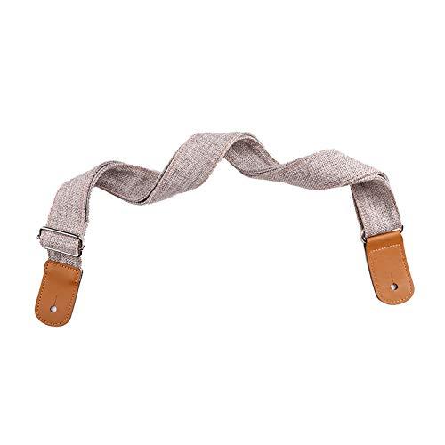 heaven2017 Cotton Linen Artificial Leather Ended Shoulder Guitar Strap Belt for Ukulele - Adjustable Grey
