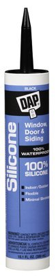 DAP 08642 12 Pack 10.1 oz. 100% Silicone Window and Door Sealant, Black