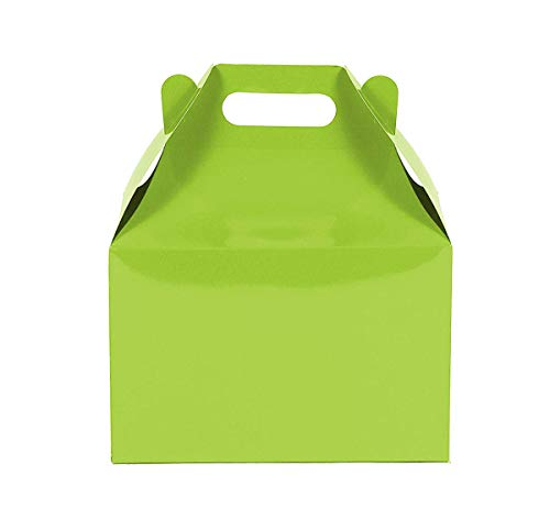 12CT(1 Dozen) Large Biodegradable, Kraft/Craft Favor, Treat Gable Boxes (Large, Lime Green) - Green Party Box
