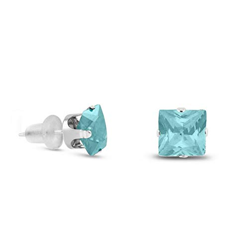 Crookston Solid 10k White Gold Square Stud Earrings - Blue Aquamarine ~ March | Model ERRNGS - 15009 | 8mm - 2XL Large