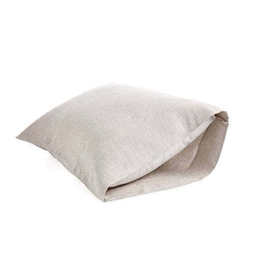 Natural Linen Pillow - DAPU Pure Stone Washed Linen Pillowcases 1 Pair Woven from 100% Fine French Natural Flax(Natural Linen, King)