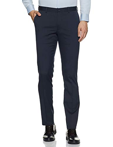 UNLEASHED Men's Slim FIT Formal Trousers (Dark Blue)