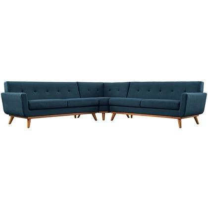 Modway Engage L-Shaped Sectional Sofa, Azure