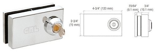 CRL Chrome Deluxe Patch Lock for 1/2; Glass 01P12 by CRL