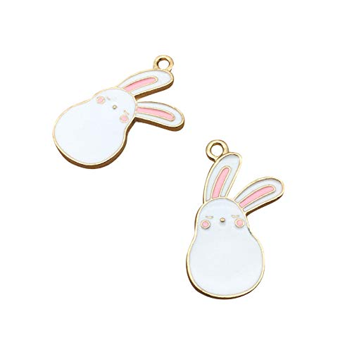 SANQIU 10PCS Enamel Rabbit Charm Animal Pendant for Jewelry Making and Crafting ()