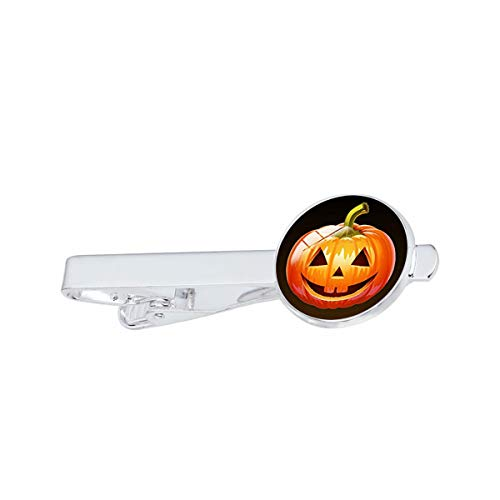 LooPoP Men Tie Clip Halloween Evil Pumpkin Dome Stainless Tie Pins for Business Wedding Shirts Tie Clips Include Gift Box