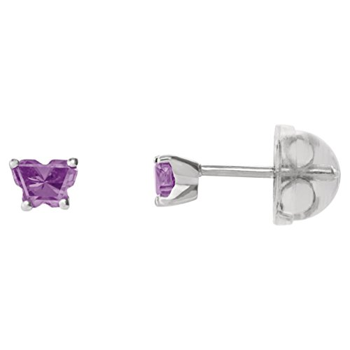 Little Girl's 14k Yellow Gold February Purple CZ Imitation Birthstone Butterfly Earrings, Safety Back by The Men's Jewelry Store (for KIDS)